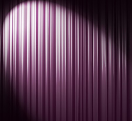 Illuminated violet curtain with round spotlight from upper right corner Stock Photo
