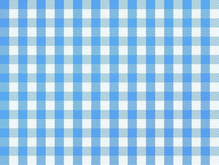 gingham: A traditional plaid seamless, repeating checkered pattern in blue and white. Stock Photo
