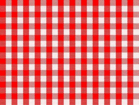 A traditional plaid seamless, repeating checkered pattern in red and white.