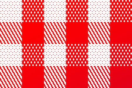 Detail of a traditional plaid seamless, repeating checkered pattern in red and white photo