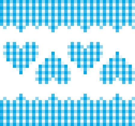 A traditional plaid. Seamless, repeating pattern with checkered hearts in blue and white.