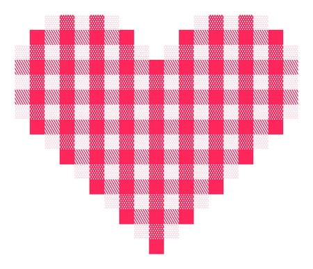 Checkered heart with traditional pattern in pinkish red and white.