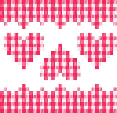 A traditional plaid. Seamless, repeating pattern with checkered hearts in red and white. photo