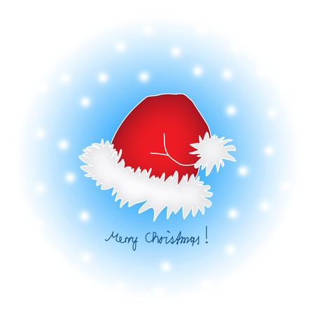 Santas corporate design - his hat painted in a cartoon style with snowflakes.