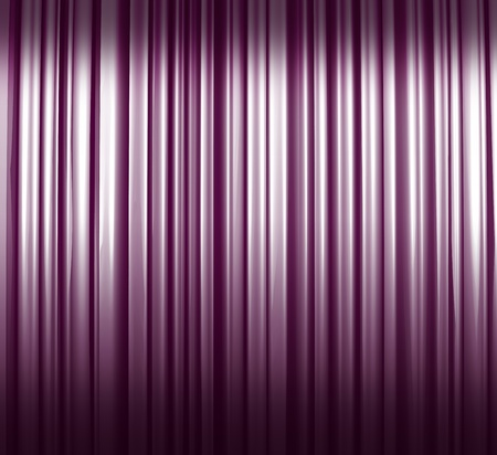 on end: Illuminated violet and white curtain with shadows Stock Photo