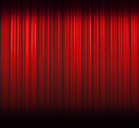 Illuminated red curtain with dark shadows