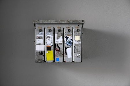 lockbox: Grungy lockboxes with empty sheets of paper for filling it with creative content