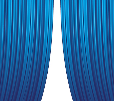blue curtain: Illuminated blue curtain closing on white background
