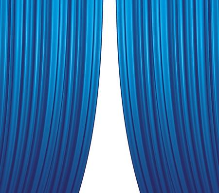 Illuminated blue curtain closing on white background