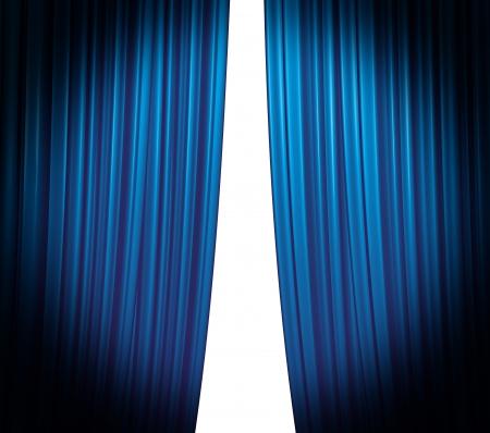 curtain theater: Cortina azul iluminada cierre sobre fondo blanco con ronda spotlight