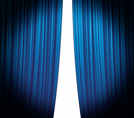 Illuminated blue curtain closing on white background with round spotlight Stock Photo - 9615988