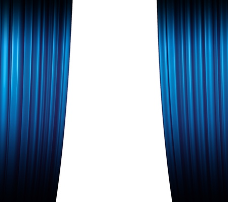 Illuminated blue curtain closing on white background with shadow