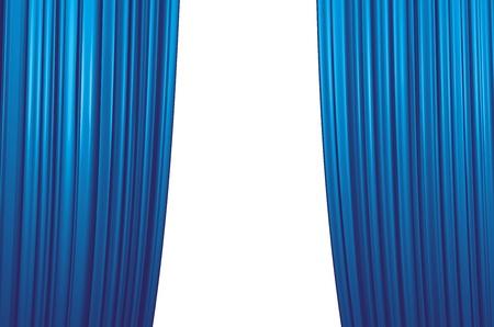 illuminate: Illuminated blue curtain closing on white background