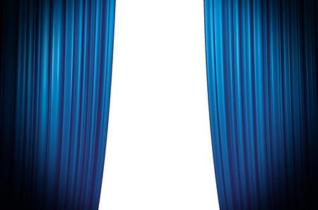 Illuminated blue curtain closing on white background with round spotlight