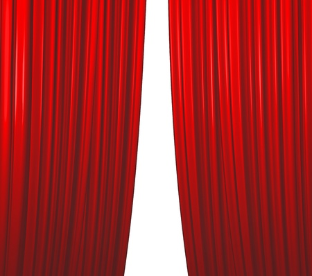 Illuminated red curtain closing on white background photo