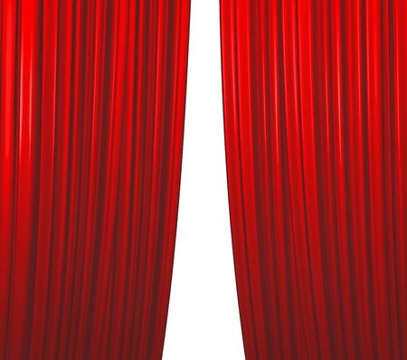 sipario chiuso: Illuminato sipario rosso su sfondo bianco di chiusura Archivio Fotografico