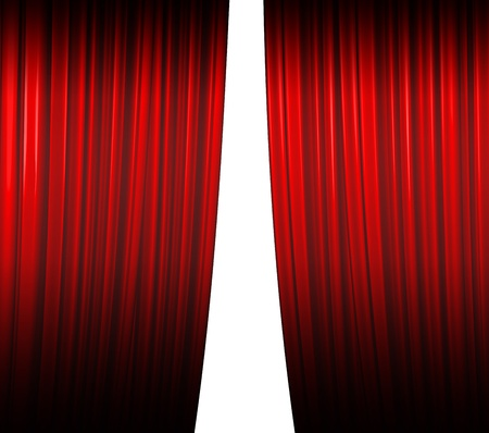 Illuminated red curtain closing on white background with shadow