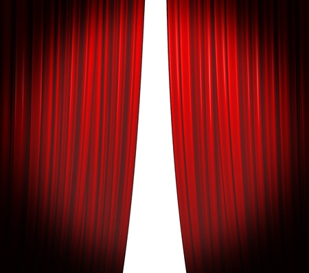Illuminated red curtain closing on white background with round spotlight