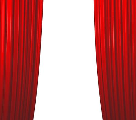 Illuminated red curtain closing on white background