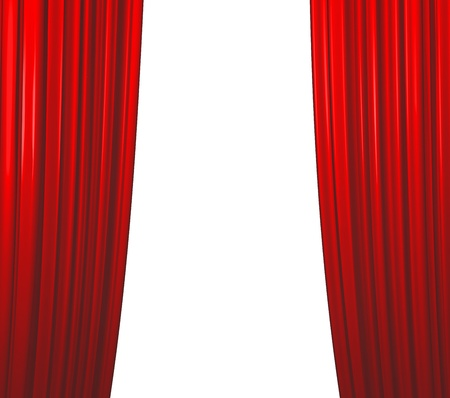 red curtains: Illuminated red curtain closing on white background