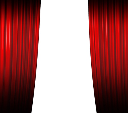 broadway: Beleuchtete rote Vorhang schlie�t auf wei�em Hintergrund mit Schatten