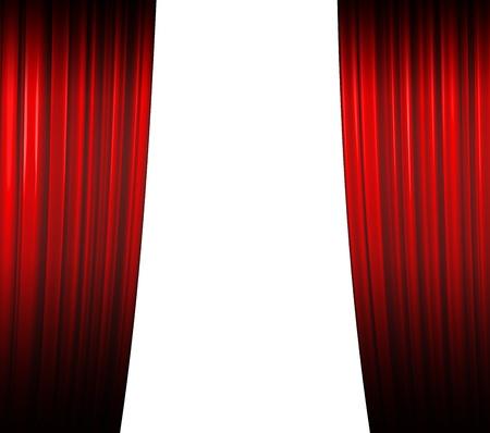 sipario chiuso: Illuminato sipario rosso su sfondo bianco di chiusura con ombra
