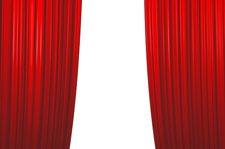 Illuminated red curtain closing on white background