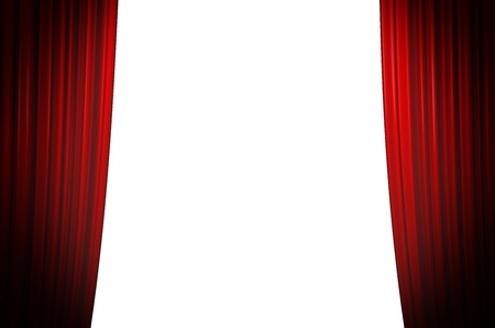 Illuminated red curtain closing on white background with round spotlight photo