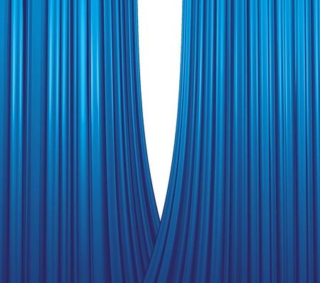 Illuminated blue curtain opening on white background