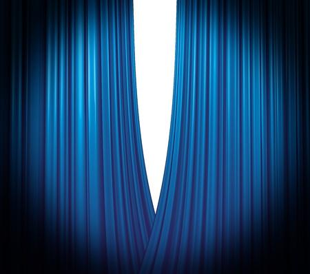 Illuminated blue curtain opening on white background with round spotlight