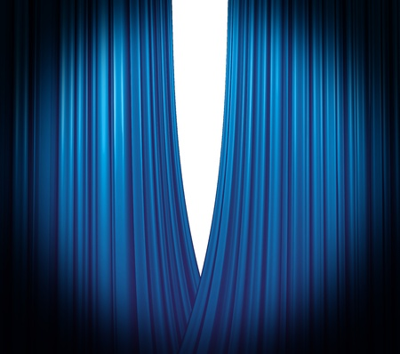 Illuminated blue curtain opening on white background with round spotlight photo