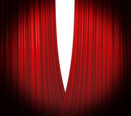 Illuminated red curtain opening on white background with round spotlight Stock Photo