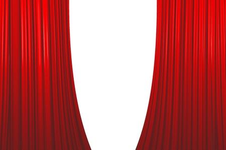 Illuminated red curtain opening on white background