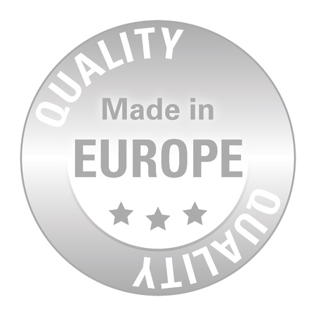Silver seal of quality - made in europe - isolated Stock Photo