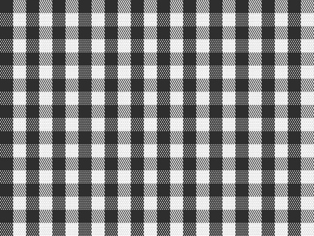 gingham: A traditional plaid seamless, repeating checkered pattern in black and white.