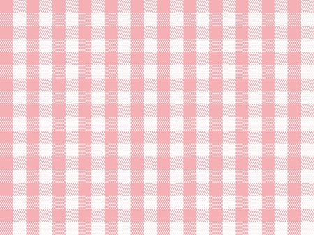 gingham: A traditional plaid seamless, repeating checkered pattern in pink and white.