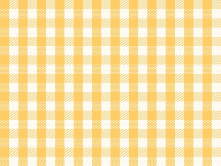 picnic tablecloth: A traditional plaid seamless, repeating checkered pattern in yellow and white. Stock Photo
