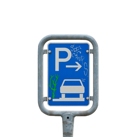 Road sign of a parking lot in germany, europe Stock Photo