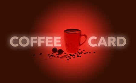 Red coffee card with cup of coffee, coffee beans, chocolate for a restaurant or a coffee bar