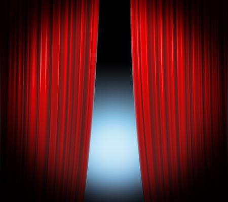 sipario chiuso: Illuminato sipario rosso chiuso su sfondo nero con riflettori piano svanendo
