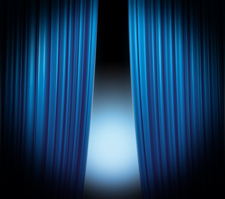 Illuminated blue curtain closing on black background with softly fading spotlight photo