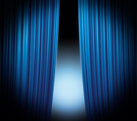 sipario chiuso: Illuminato sipario blu di chiusura su sfondo nero con riflettori piano svanendo Archivio Fotografico