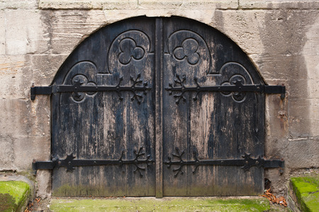Old wooden hobbit-like medieval doors with carvings Stock Photo