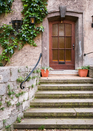Wooden entry door with door step, virginia creeper and flowerpots in front Stock Photo