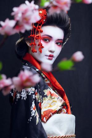 若い可愛いさくらと装飾で着物姿の芸者 写真素材