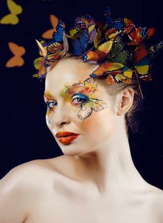 creative make up like butterfly at halloween photo