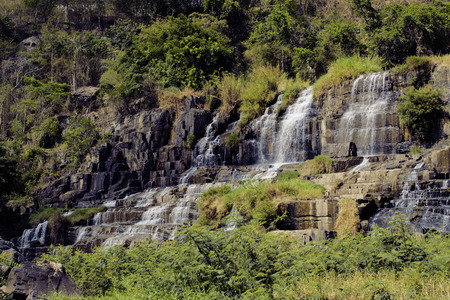 nobody real: waterfall pongour at low season, nobody of tourists in reserve real Stock Photo