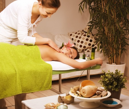 salon and spa: stock photo attractive lady getting spa treatment in salon