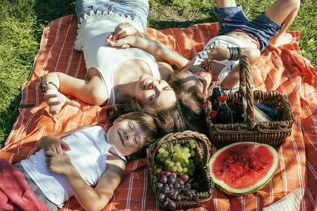 ピクニック緑の草の母親と子供たち、暖かい夏の休暇に敷設のかわいい幸せな家族