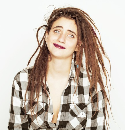 exotically: real caucasian woman with dreadlocks hairstyle funny cheerful faces on white background Stock Photo